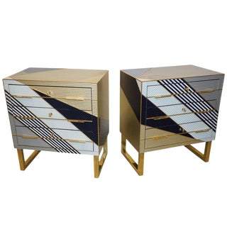 Bespoke Italian Postmodern Black Gold Gray Chests or Nightstands on Brass Legs - a Pair in Showroom For Sale
