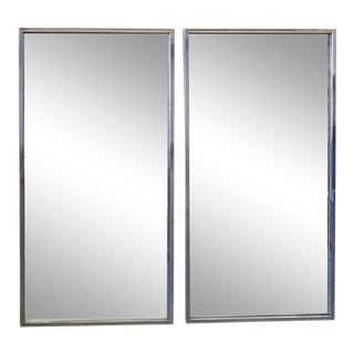Large Mid Century Stainless Steel Framed Mirrors, a Pair For Sale