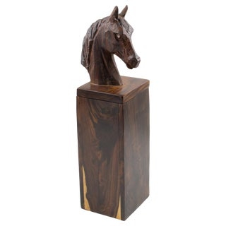 Macassar Wood Tall Horse Head Box For Sale
