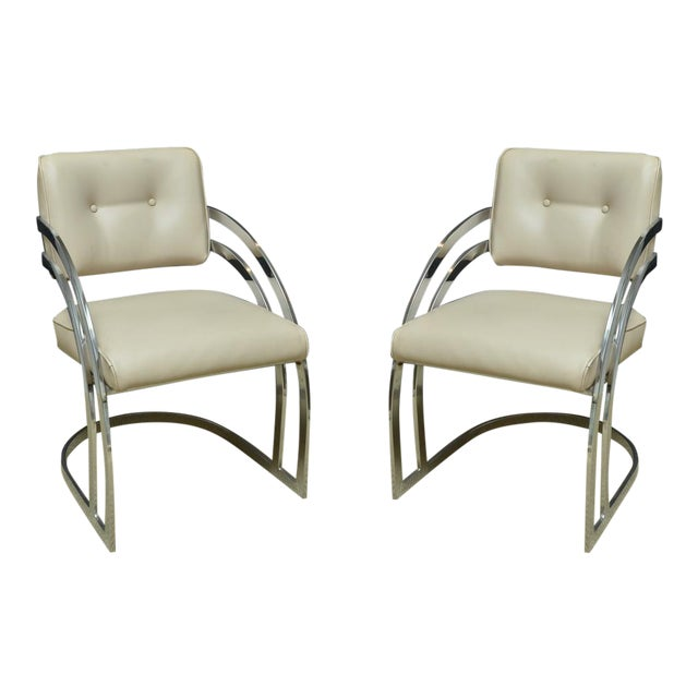 Pair of Mid-Century Chrome and Leather Armchairs - Image 1 of 4