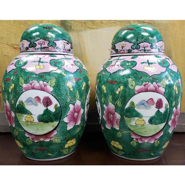 C. 1880 Chinese Famille Verte Porcelain Enameled Floral/Dragon Motif Ginger Jars - a Pair For Sale - Image 4 of 9