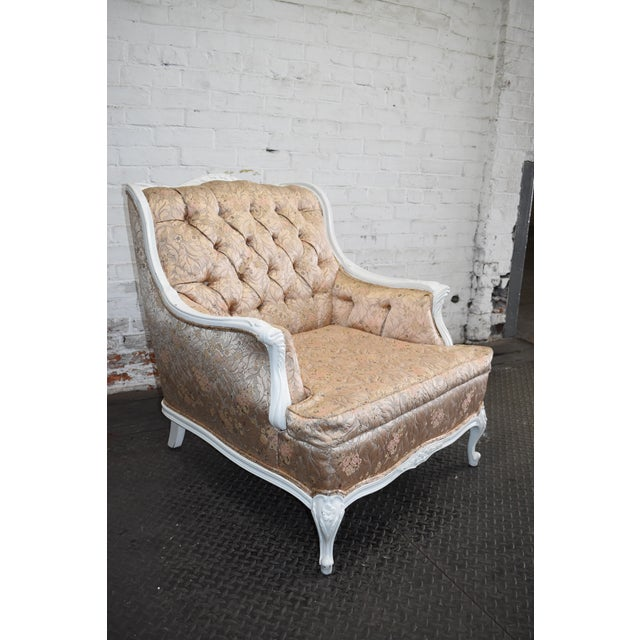 Vintage Hollywood Regency Chair in Blush Pink Brocade Stunning French Provincial Armchair in Rose Gold ***Matching Couch...