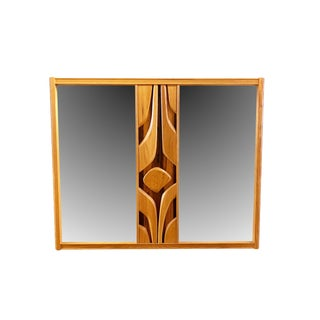 Mid Century Modern Tiki Tropical Brutalist Wall Mirror For Sale