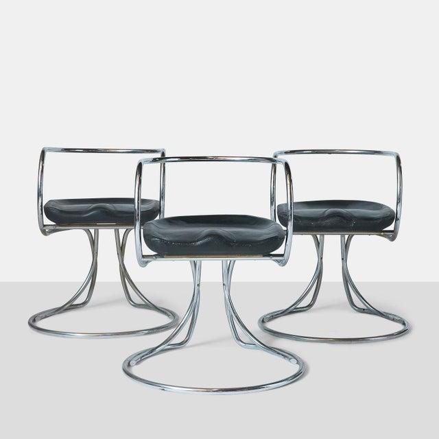 Vladimir Tatlin Tubular Chrome Chairs with Black Leather For Sale - Image 9 of 9