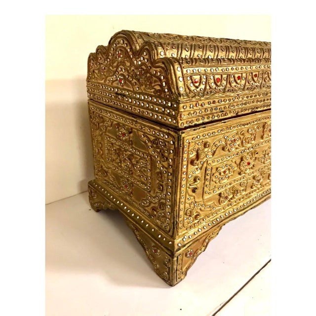 1950s 1950s Giltwood Jeweled Box For Sale - Image 5 of 12