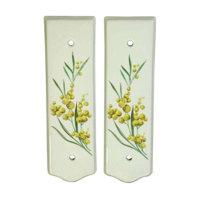 Pair of Limoges 7.75 In. White Ceramic Floral Door Push Plates For Sale - Image 6 of 6
