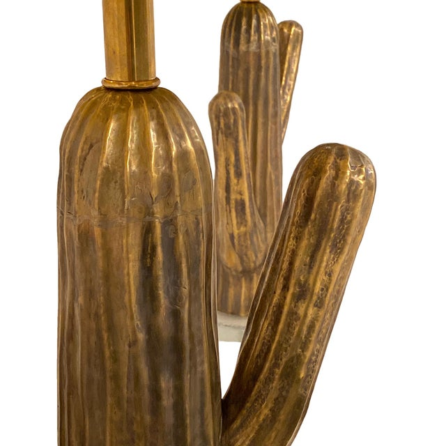 Italian Vintage Italian Brass Cactus Lamps - a Pair For Sale - Image 3 of 6