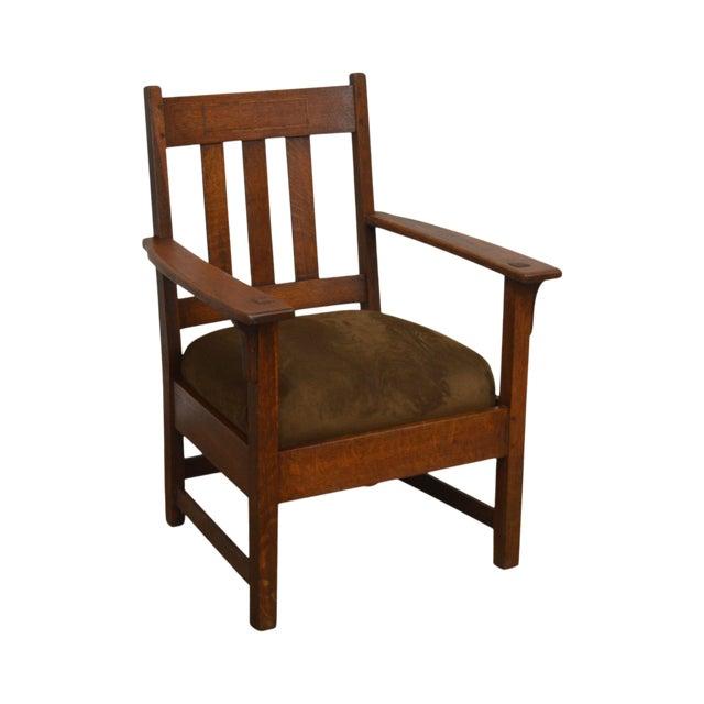 Antique Mission Style Furniture.Limbert Antique Mission Oak Slat Back Armchair