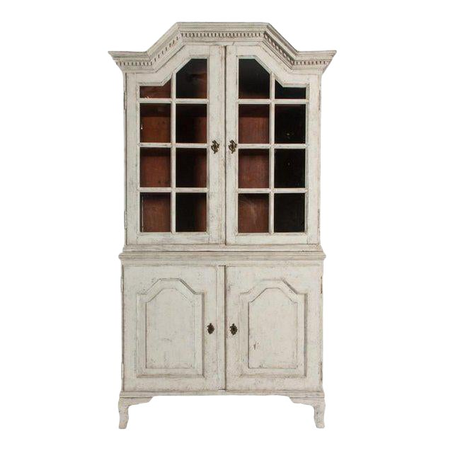 Antique White Gustavian Style Vitrine With Glass Panel Doors For Sale