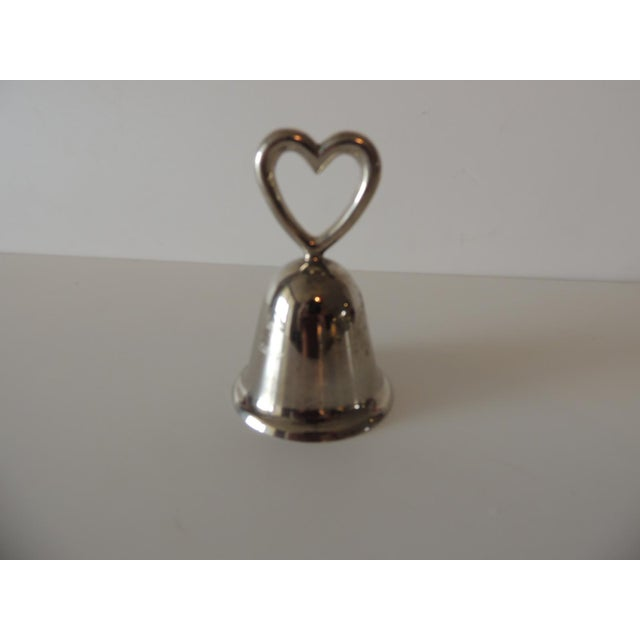 Late 20th Century Polished Chrome Table Bell With Inscription and a Heart For Sale - Image 5 of 5