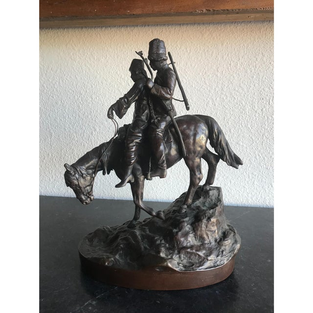 Russian Two Cossacks Men on Horseback Bronze Statue For Sale In Tampa - Image 6 of 7