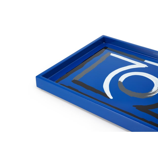Contemporary Luke Edward Hall Collection Small Etienne Tray in Blue For Sale - Image 3 of 4
