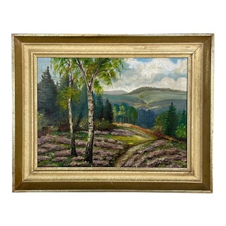 Vintage Framed Oil Painting on Canvas by F. Dewert, Dated 1945 For Sale