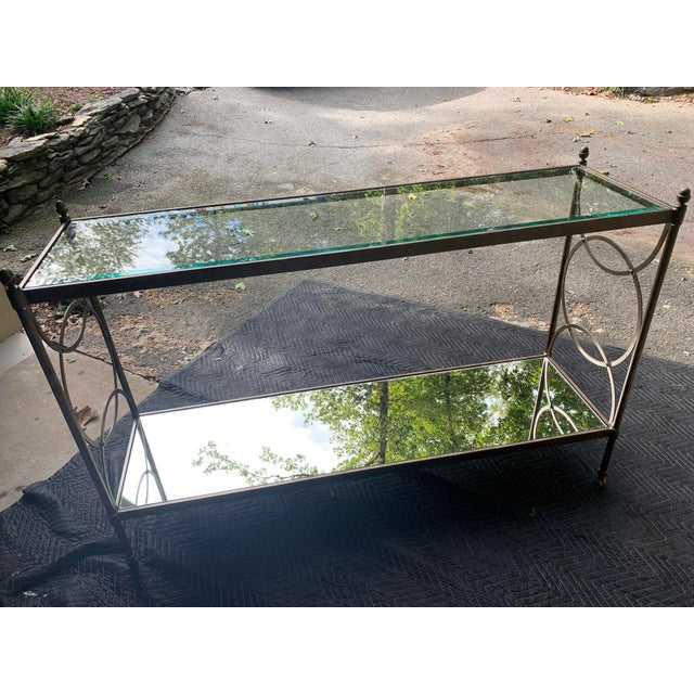 Brass Drexel Heritage Glass Console For Sale - Image 8 of 8