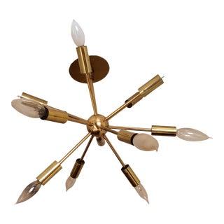 Original Sputnik Chandelier Brass Light Fixture For Sale