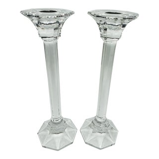 1970s Villeroy & Boch Crystal Faceted Candle Sticks - a Pair For Sale