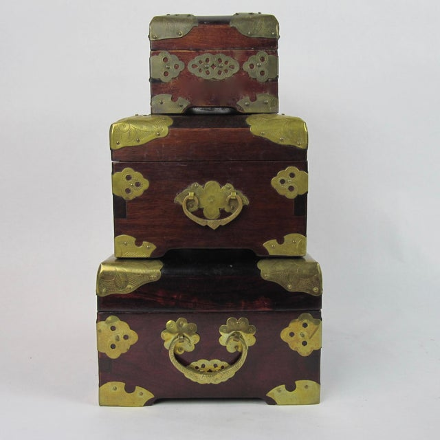 Antique Chinese Jewelry Boxes With Jade - Set of 3 For Sale - Image 4 of 9