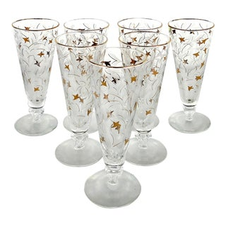 Mid-Century Modern Etched & Gilt Pilsner Beer Glasses- Set of 7 For Sale