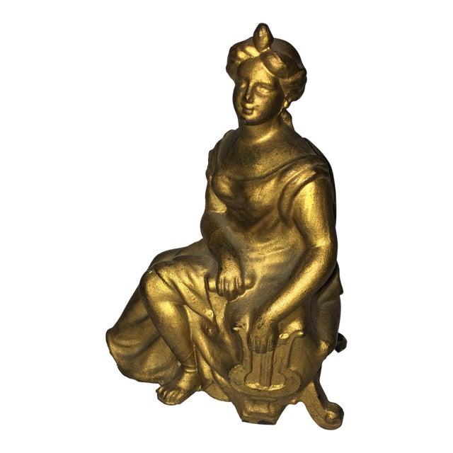 Classical Lady & Harp Clock Top Figure - Image 1 of 9
