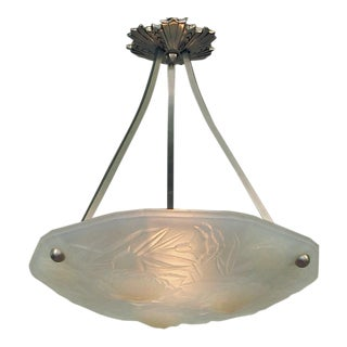 French Art Deco Opalescent Floral Motif Lighting Bowl, 1920s For Sale