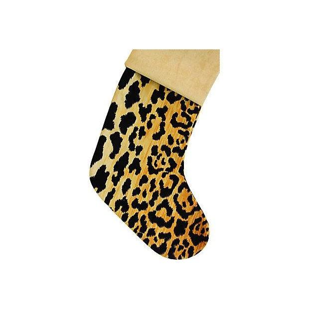 Boho Chic Custom Velvety Leopard Christmas Stocking For Sale - Image 4 of 5