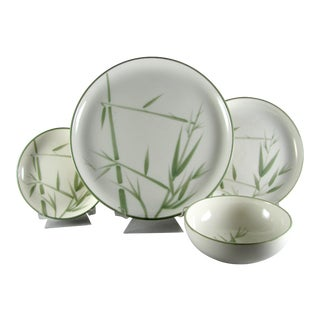 Mid Century Winfield Bamboo Service for 6 Dinnerware - 24 Piece Set For Sale