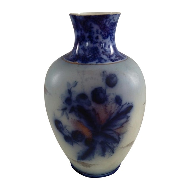 English Flow Blue and Sponged Gold Vase - Image 1 of 6
