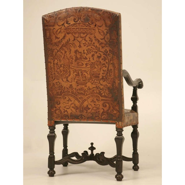 Leather Antique Embossed Painted & Gilded Leather Chair For Sale - Image 7 of 11