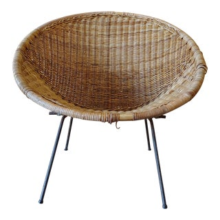 Vintage Mid Century Modern Rattan and Wrought Iron Hoop Chair For Sale