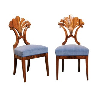 Pair of Austrian Biedermeier Fan Back Chairs with Light Blue Upholstery, 1840