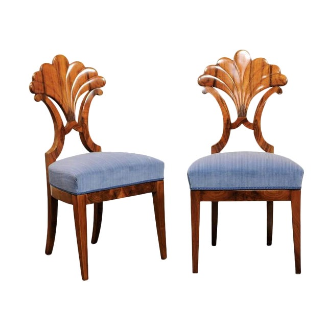 Pair of Austrian Biedermeier Fan Back Chairs with Light Blue Upholstery, 1840 - Image 1 of 10