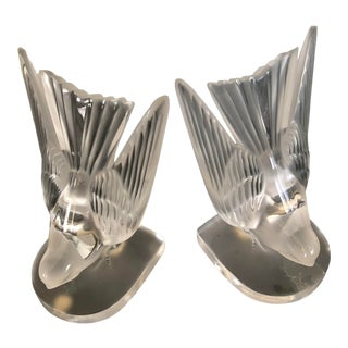 Vintage Lalique Crystal Swallow Bookends/Paperweights - a Pair For Sale