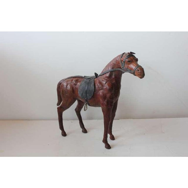Traditional 1950's Vintage Large Hand Made Leather Horse Figurine For Sale - Image 3 of 3