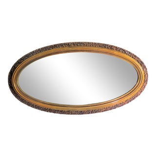 1940's Mid-Century Oval Gilt Wood Mirror For Sale