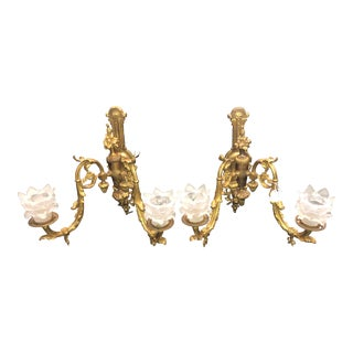 Late 19th Century 2 Arm Bronze French Sconces - a Pair For Sale