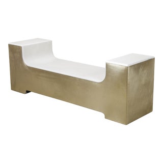 U Shape Bench - Cream Lacquer and Brass For Sale