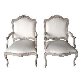 1970s French Style Bergere Chairs - a Pair