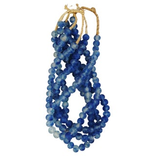 Deep Blue & Ice Glass Bead Strands - Set of 4 For Sale