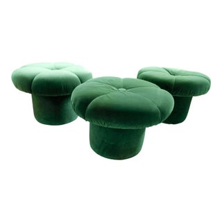 1970s Vintage Green Velvet Mushroom Stools Ottomans - Set of 3