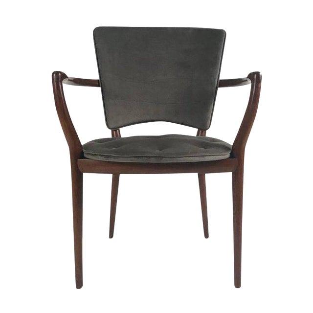 Bert England for Widdicomb Desk/ Armchair in Grey Velvet With Tufting For Sale