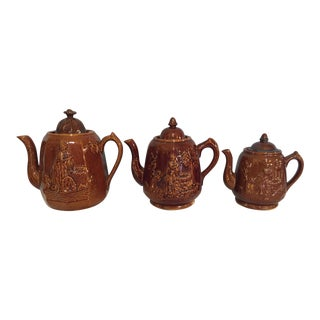 English Treacleware Teapots - Group of 3