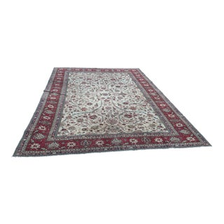 1980s Low Pile Anatolian Floral Design Oushak Area Rug - 7′9″ × 10′7″ For Sale