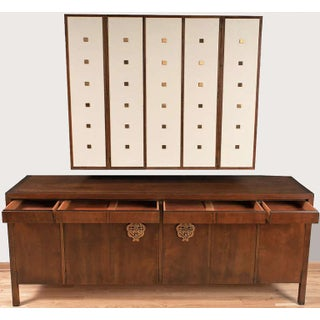 Bert England Walnut, White and Brass Sideboard With Floating Wall Cabinet Preview