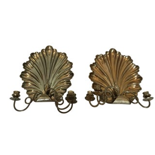 Heavy Brass Nautilus Shell 3 Arm Candle Sconces - A Pair