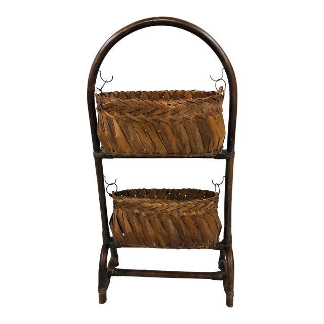 Mid-Century Bentwood Two Basket Organizer For Sale