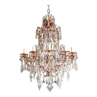 Crystal Chandelier Antique Ceiling Lamp Murano Florentiner Lustre Art Nouveau Purple For Sale