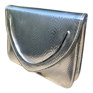 1980s Walborg Metallic Silver Snakeskin Clutch For Sale