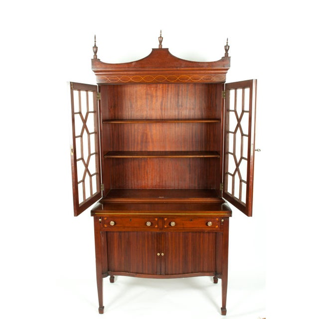 Charak Hand-Carved Mahogany Wood Two Piece Display Cabinet For Sale - Image 11 of 13