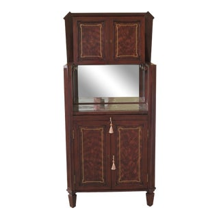 Theodore Alexander Brass Inlaid Mahogany Bar Cabinet For Sale