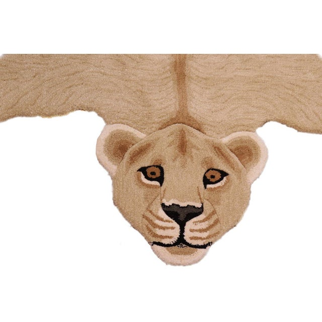 Contemporary Boho Chic Lioness Shaped Animal Design Area Rug For Sale - Image 3 of 12